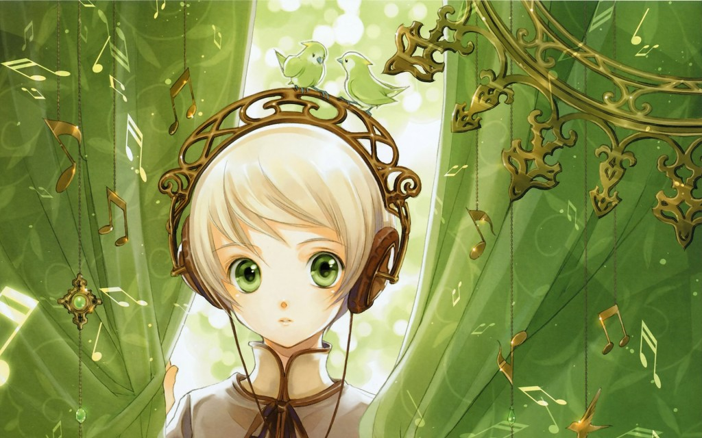 white haired girl with green eyes wearing a fancy golden headphones