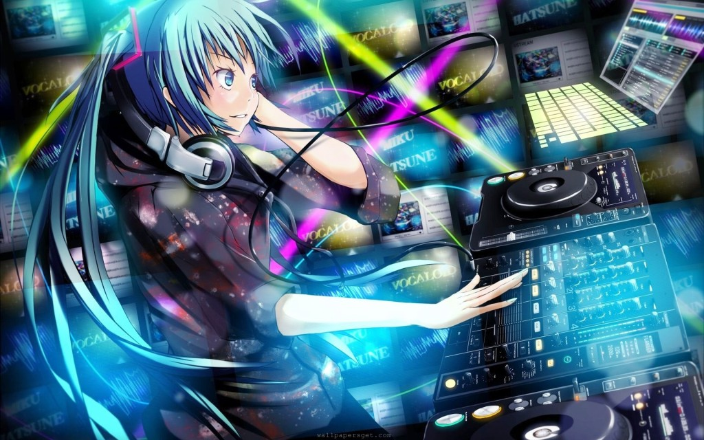DJ girl with long blue hair in pigtails, colorful lights all around her.