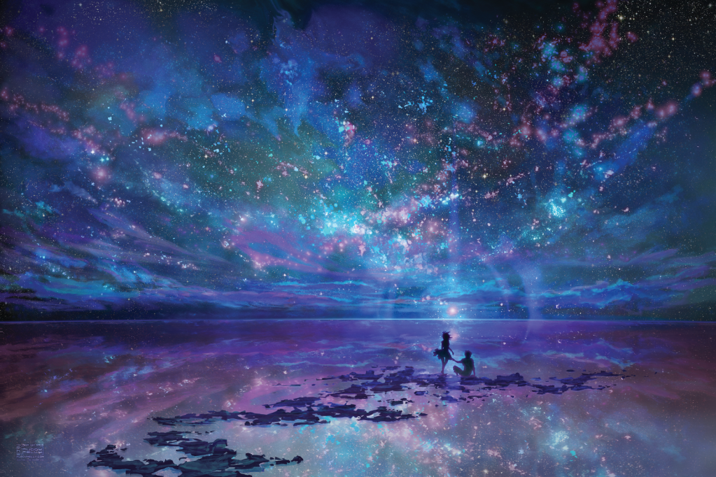 dazzling starry sky reflected on still water