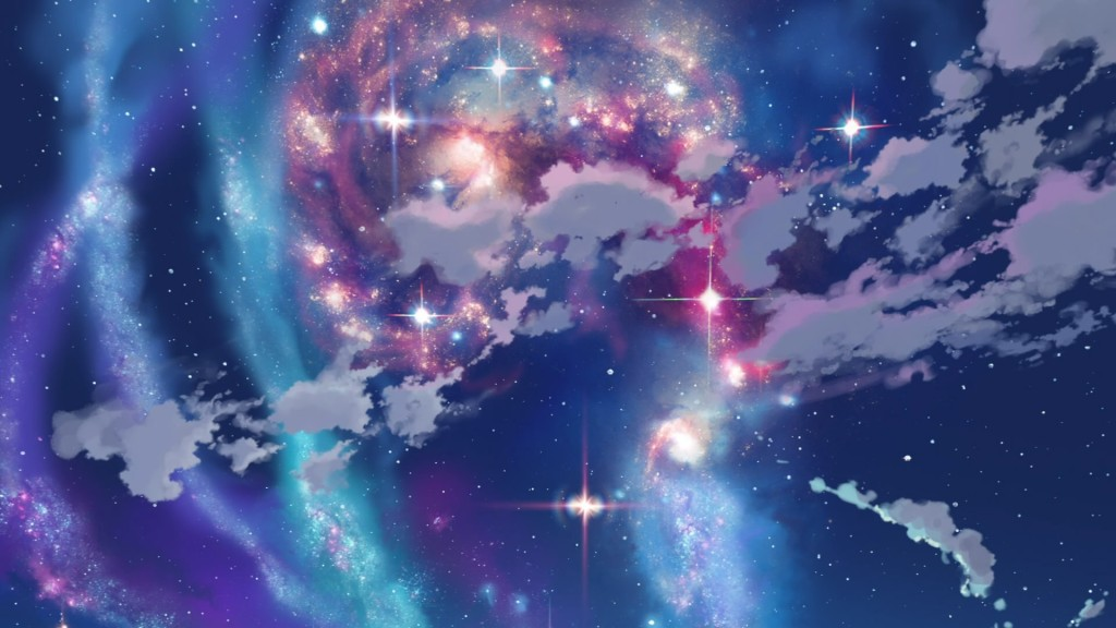 swirling nebula of blue, purple, and pink color with sparkles of stars