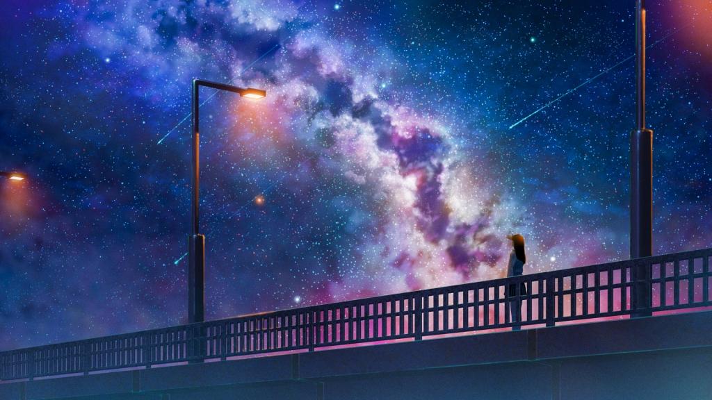 clear sky and Milky way over urban bridge