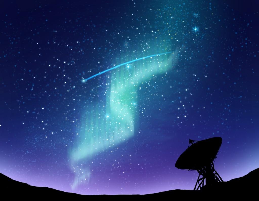 aurora in clear sky over satellite dish