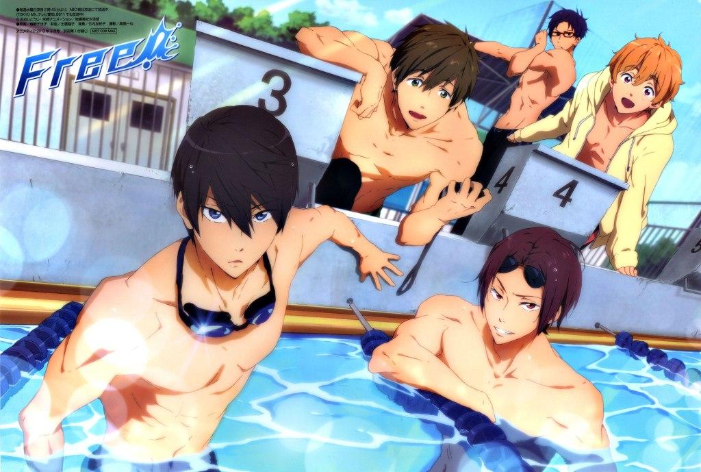 Free! Iwatobi Swim Club characters in a pool