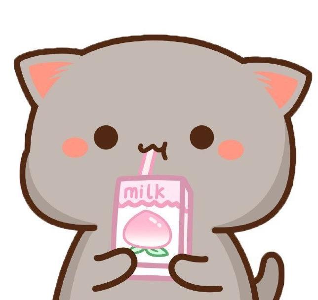 super cute anime cat drinking peach milk