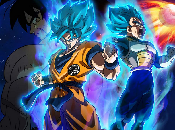 Dragon ball characters with glowing hair