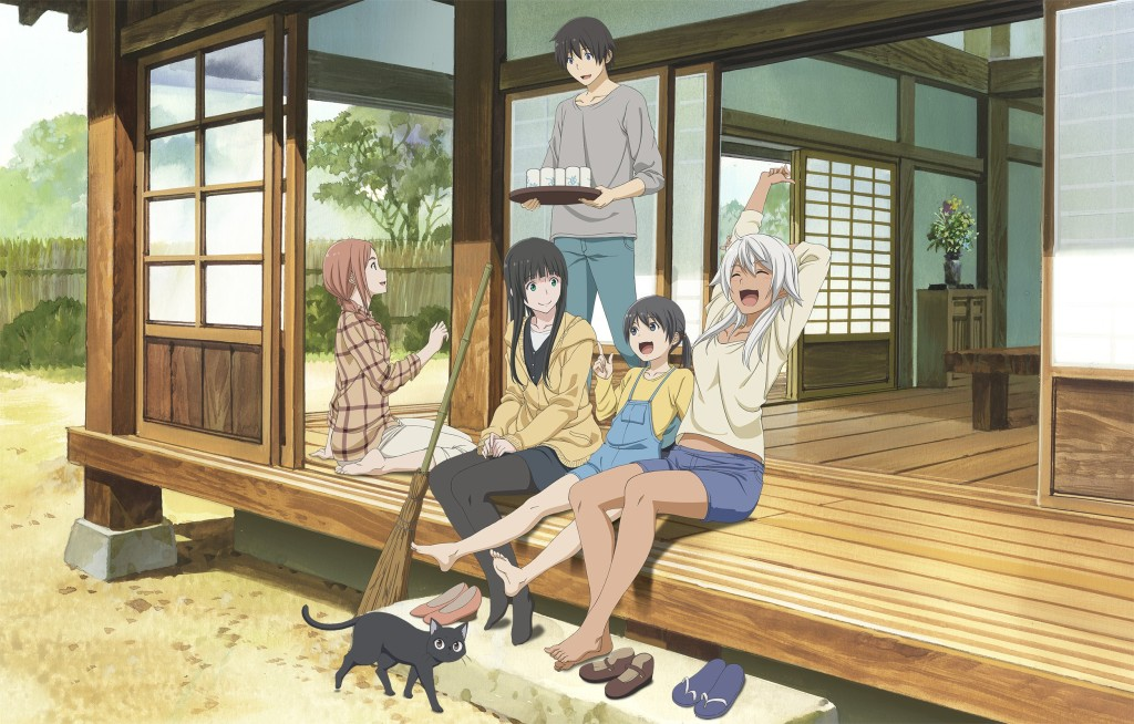 Flying Witch characters on a porch laughing