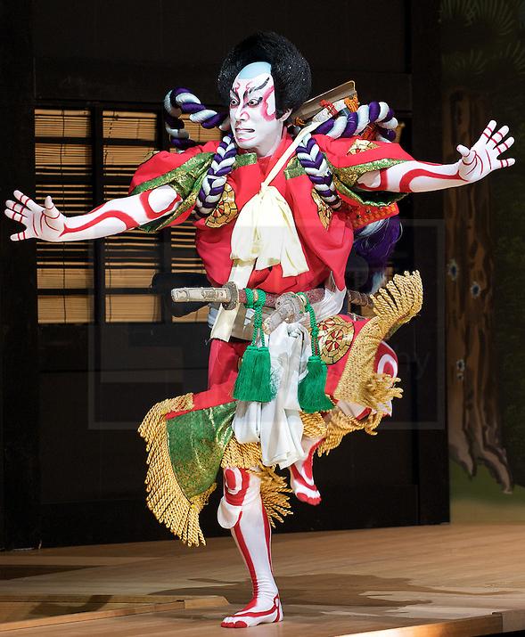 Kabuki actor striking a dramatic pose