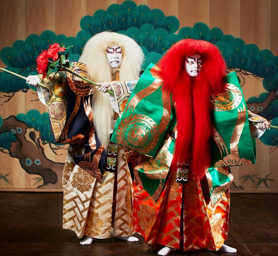 Kabuki actors with colorful long wigs