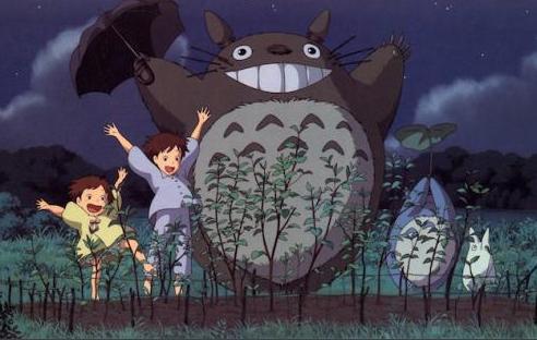 totoro with children dancing in garden