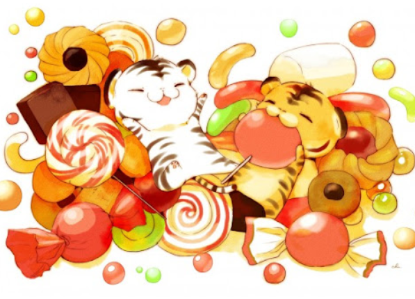 happy tigers eating sweets