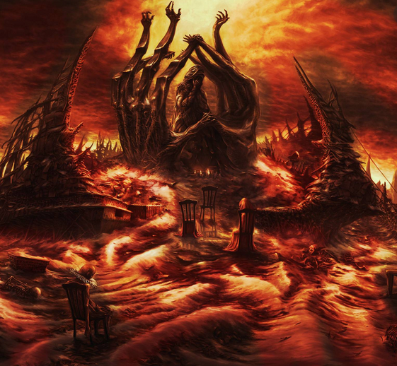 hell-scape with hand mountains