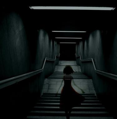 creepy girl walking down creepy hallway